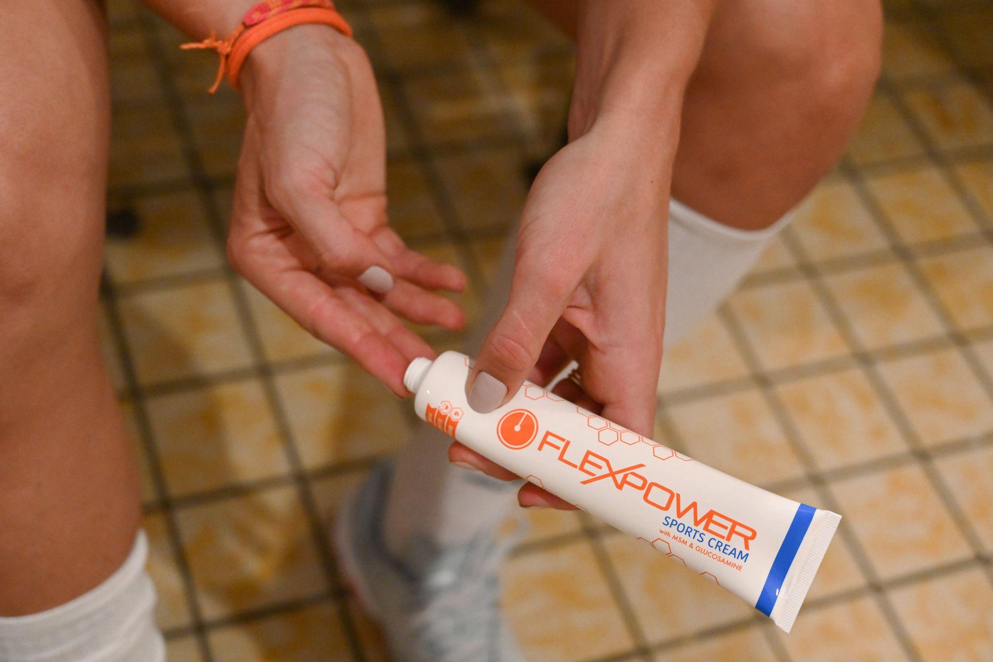 FlexPower sportcrème wordt gebruikt